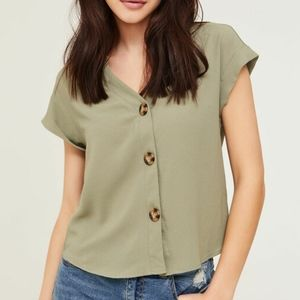Button front sage green blouse
